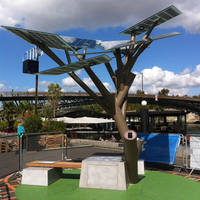 Solar products made from metal trees used to decorate the park